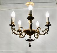 Gilded Brass 5 Branch Rococo Style Chandelier (6 of 8)