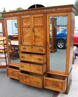 1900's Large Well Fitted Burr Oak Compactum Wardrobe (3 of 6)