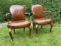 Pair of Leather Queen Anne Style Armchairs (4 of 10)