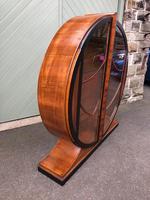 Art Deco Walnut & Ebonised Round Display Cabinet (6 of 11)