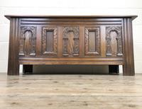 Early 20th Century Antique Carved Oak Blanket Box (3 of 9)
