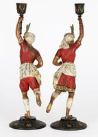 Pair of Continental, Probably French, Cold Painted Metal Figural Candlesticks (5 of 27)