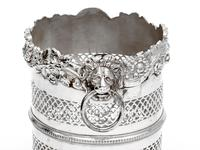 Silver Plated Bottle Stand with a Shell and Floral Top Border and Lion Ring Handles (3 of 4)