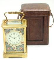 Superb French 8 Day Champleve Carriage Clock Cylinder Platform, Working c.1900 (6 of 12)