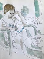 Original watercolour 'reading' by Toby Horne Shepherd 1909-1993. Signed