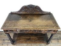 Victorian Gothic Oak Side Table with Green Man Details (3 of 17)