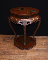 Chinese Pedestal Stand Table in Cinnabar Lacquer Chinoiserie (16 of 26)