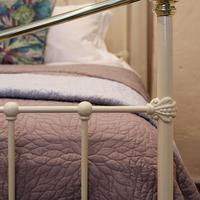 Wide Cast Iron & Brass Antique Bed in Cream (5 of 7)