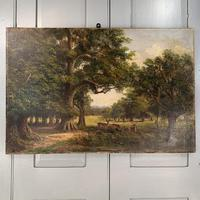 Antique Landscape Oil Painting of Deer in Richmond Park Signed JI Lewis (7 of 10)