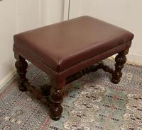 Large Victorian Oak & Leather Library Stool (4 of 6)