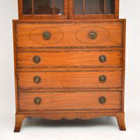 Antique Inlaid Mahogany Secretaire Bureau Bookcase (9 of 11)