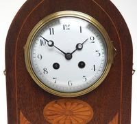 Fantastic French Inlaid Lancet Mantel Clock Multi Wood inlay 8 Day Striking Mantle Clock (8 of 10)