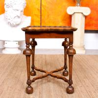 Walnut Side Table Continental Queen Anne Carved Lamp Table (4 of 12)