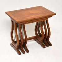 Antique Regency Style Figured Walnut Nest of Tables (6 of 12)
