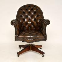 Antique Victorian Style Leather Swivel Desk Chair (2 of 12)