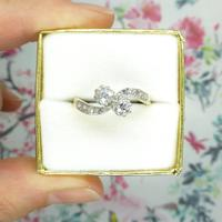 Antique Edwardian 18ct Old mine cut Diamond two stone engagement ring c.1910 (5 of 10)