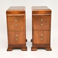 Pair of Art Deco Figured Walnut Bedside Chests (5 of 10)
