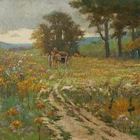 Early 20th Century German School Impressionistic Landscape with Cart (6 of 10)