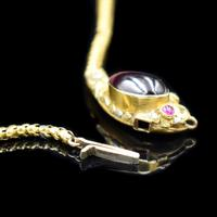 Antique Victorian Cabochon Garnet Yellow Gold Snake Serpent Necklace (7 of 11)