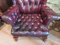 Antique Leather Chesterfield Wing Armchair (7 of 7)