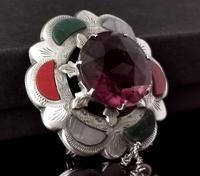 Victorian Scottish Agate & Amethyst Brooch, Sterling Silver (3 of 11)