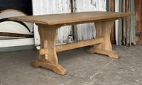 French Bleached Oak Trestle End Farmhouse Dining Table (19 of 19)