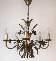 Vintage French 5 Arm Gilt Wheatsheaf & Floral Toleware Chandelier (6 of 9)