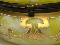Antique Art Nouveau Loetz Art Glass Round Gilt Floral Trinket Box (22 of 33)