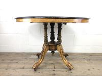 Victorian Walnut & Mixed Woods Inlaid Centre Table (2 of 11)
