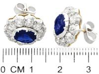 2.10ct Basaltic Sapphire & 3.30ct Diamond, 9ct Yellow Gold Cluster Earrings - Antique c.1890 (7 of 9)