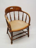 Edwardian Oak Upholstered Tub Chair (7 of 18)