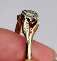 Mid 20th Century 18ct Gold Diamond Engagement Solitaire Ring Size O (10 of 11)