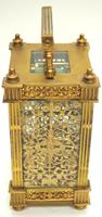 Fantastic French 8-day Fleur De Lis Decorated Panel 8-day Carriage Clock Timepiece c1890 (7 of 10)