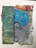 Original oil on cement 'Abstract composition' by Peter Manzaroli. c.1985 (2 of 2)