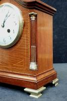 French Belle Epoque Mahogany Inlaid Mantel Clock (3 of 7)