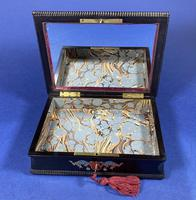 19th century French Ebony, Brass Lacquer & Red Tortoiseshell Jewellery Box (7 of 17)
