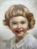 """20th Century Oil Painting Portrait Girl With Curly Hair """"The Happy Smile"""" (5 of 19)"""