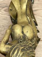 Art Deco French Signed Gilt Bronze 2 Female Nude Mermaids Swimming Statue c.1930 (12 of 41)