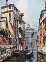 Set of 4 Watercolours Venice by Sirrol listed artist Aka Antonio Sirolli 1950s (2 of 10)