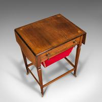 Antique Drop Leaf Sewing Table, English, Rosewood, Side, Lamp, Regency c.1820 (8 of 12)