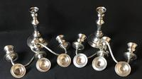 Pair of Antique Silver Plate on Copper Three Branch Candelabra (5 of 6)