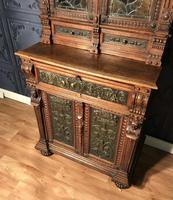 Victorian Carved Oak Secretaire Bookcase (9 of 25)