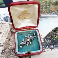 Antique Victorian Gold & Silver Diamond Tulip Scrollwork Brooch (3 of 5)