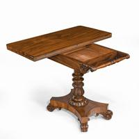 Companion Pair of William IV Flame Mahogany Card Tables (12 of 13)