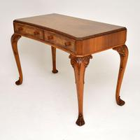 Antique Burr Walnut Queen Anne Style Console Server Table (2 of 10)