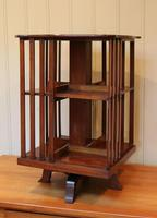 Edwardian Small Proportioned Low Mahogany Revolving Bookcase (4 of 10)