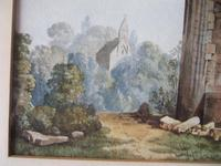 19th Century Watercolour of Newminster Abbey, Northumberland. (2 of 4)