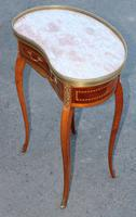 1920s Mahogany Kidney Shaped Side Table with Marble and Drawer (3 of 4)