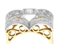 0.33ct Diamond & 18ct Yellow Gold Dress Ring - Art Deco - Vintage c.1940 (3 of 9)