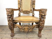 Large Carved Wooden Lion Throne Chair (3 of 10)